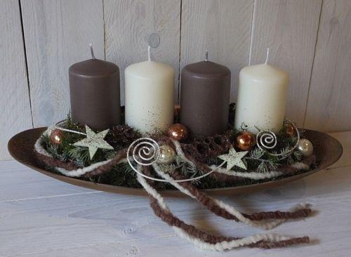 Wreath, Christmas Flower Arrangement, Natural-Cream-Brown