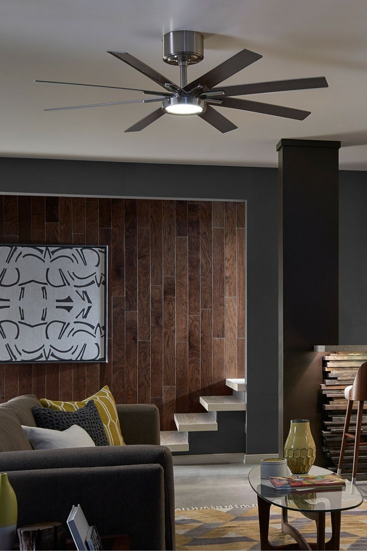 "The modern Empire ceiling fan by Monte Carlo makes an impressive statement in a family or living room with a 60"" sweep across the eight blades. The housing, whether in Brushed Steel (shown) or Matte Black, is ultra-sleek and hugs the ceiling, while the drive shaft brings the fan and the LED downlight closer into a space."