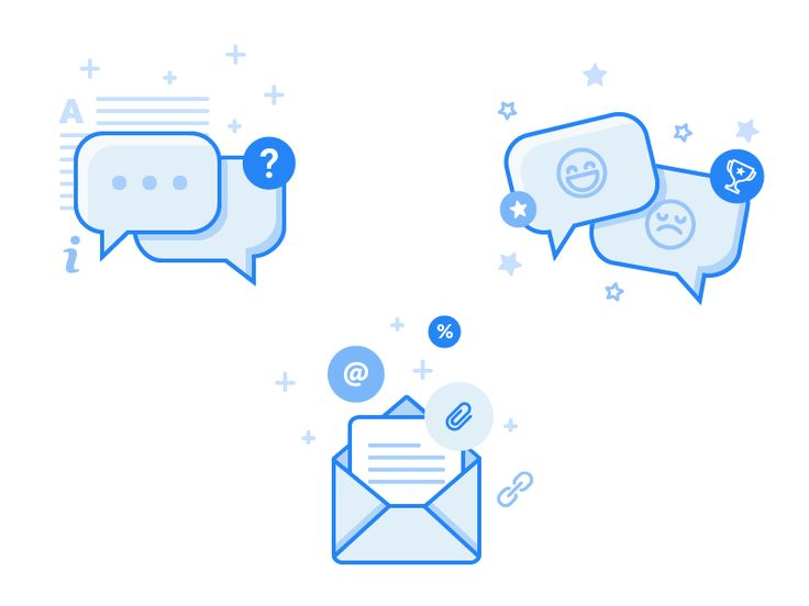 Hi everyone! These are the icons that I designed recently for a web app providing online chat services.