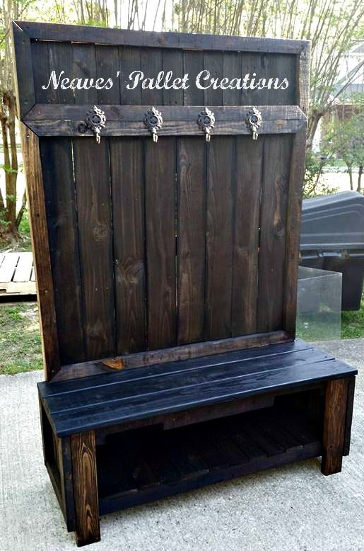 """RECYCLED WOOD PALLETS: Here is another custom ordered Hall Tree. They wanted a black bench and a dark walnut stain on the rest of the Hall Tree. It is 50"""" wide x 72"""" tall x 19"""" deep with 4 ornate, rustic iron hooks, and sold for $200. Message us if we can custom design a Hall Tree for you. Item # 933"""