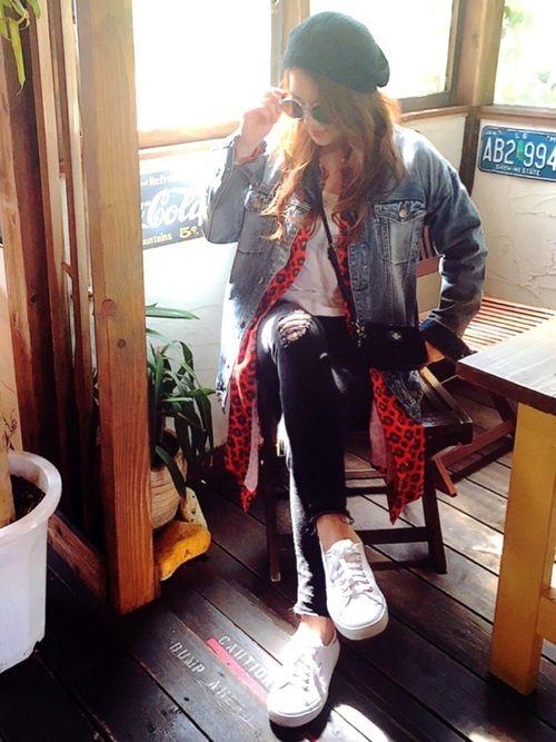 ロング丈のデニムジャケット★に ロング丈のシャツワンピ♪♪ をコーデです♡♡m(_ _)m♡♡