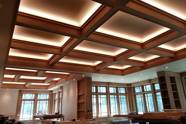 Once the electricians completed wiring the LEDs and finally threw the switch, we were pretty stunned. The dimmable lighting takes the ambiance from a bright commercial feel, similar to a bank or library, to a cozy background glow.