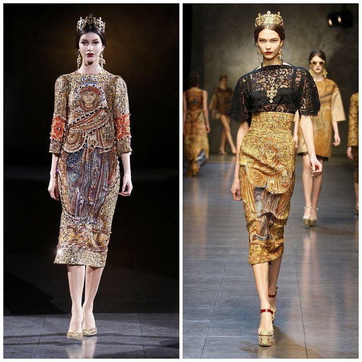 sfilata dolce gabbana autunno inverno 2013 2014 mosaico barocco croci corone milano fashion week      #dolceegabbana #mfw #fashionweek #runwayshow #red #lace     www.ireneccloset.com