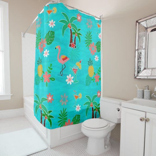 Tropical Collage Shower Curtain Zazzle Com Bathroom Sets Shower Curtains