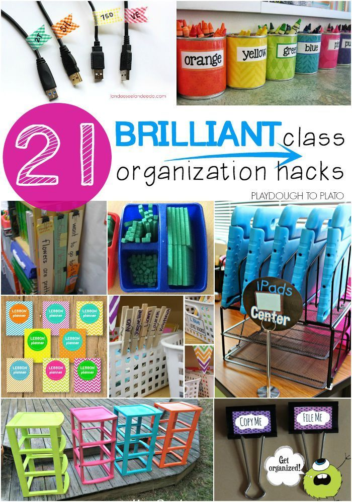 21 Brilliant Classroom Organization Hacks. Genius tricks for storing supplies, keeping track of student work, plus tons of free printables to keep you organized all year long.