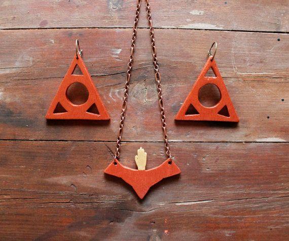 Large earrings tribal earrings triangle earrings by TACEHandmade