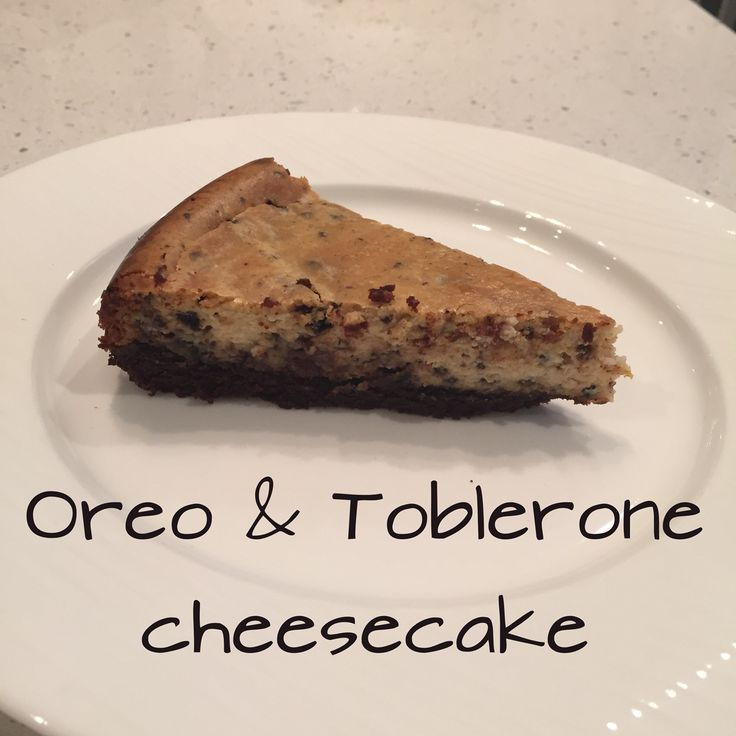 Oreo & Toblerone baked cheesecake   Blitz 250g chocolate biscuits combine with butter to make base. Bake in oven 12 minutes.  Filling  6 Oreo biscuits and 3 triangles of an extra large Toblerone. Turbo 1 sec.  2 whole eggs, 500g Philly cream cheese, 120g sugar creamed Dash vanilla paste.  Bake 180 degrees 35 minutes. Less next time.
