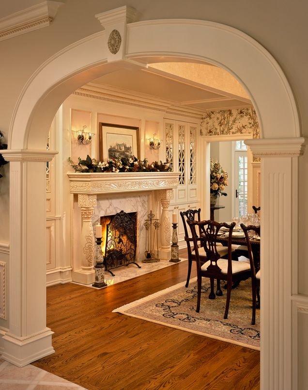 Traditional Dining Room - chairs, built ins on sides of fireplace