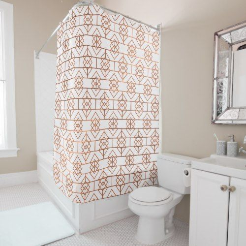 Art Deco Copper Pattern Shower Curtain