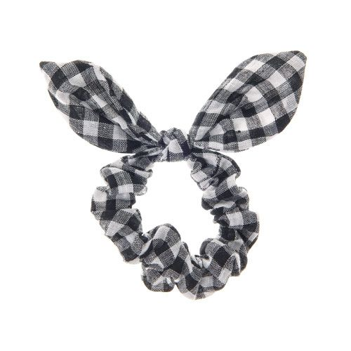 Black and White Gingham Print Ear Scrunchie