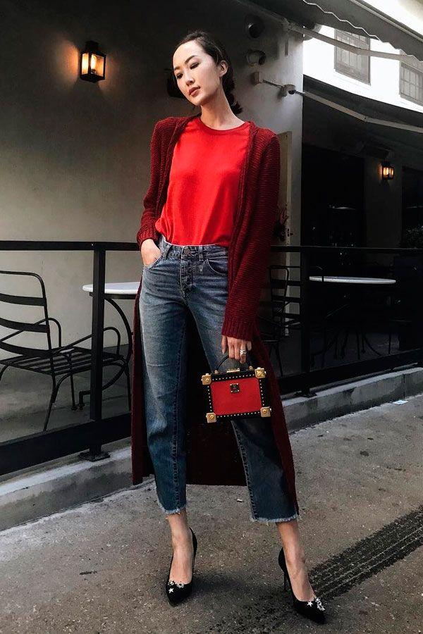 look calça vermelha