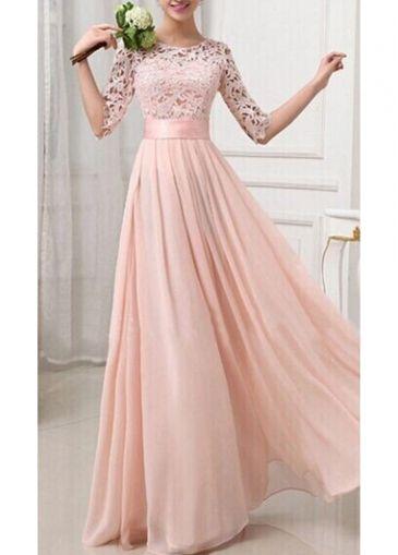 Zipper Fly Pierced Sleeve Maxi Dress. Bridesmaids dresses but not pink