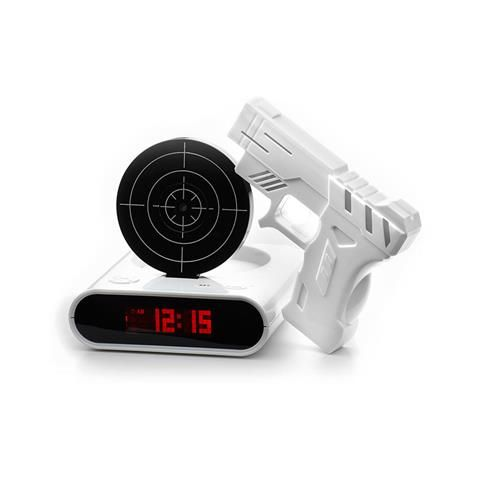 Gun Alarm Clock Wht Novelty Jlr-70024