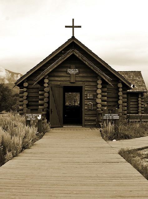 Lil Log Church with view of Teton Mts , Jackson Hole WY