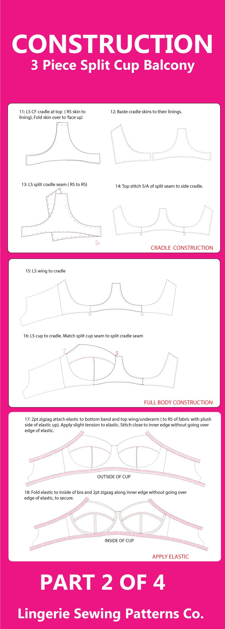 Part 2 of 4. How to Make a Bra guide for our balcony bra PDF sewing pattern available to download via Etsy