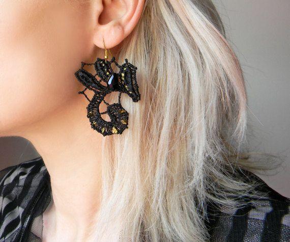 Black Lace Earrings Art Nouveau Earrings Sexy Jewelry Long