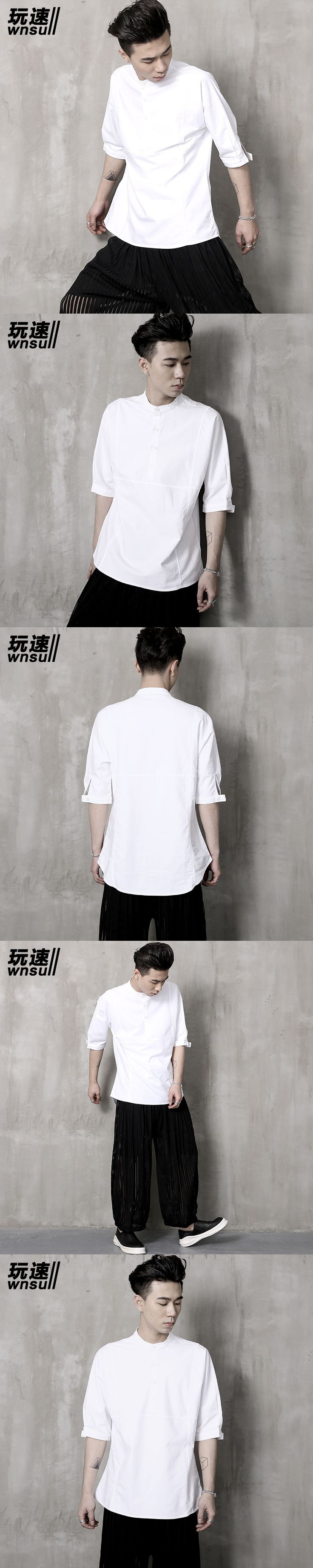 M-6XL!!  2017   Big yardsMen's clothing      half sleeve shirt male chinese style stand collar loose shirt fluid chinese style