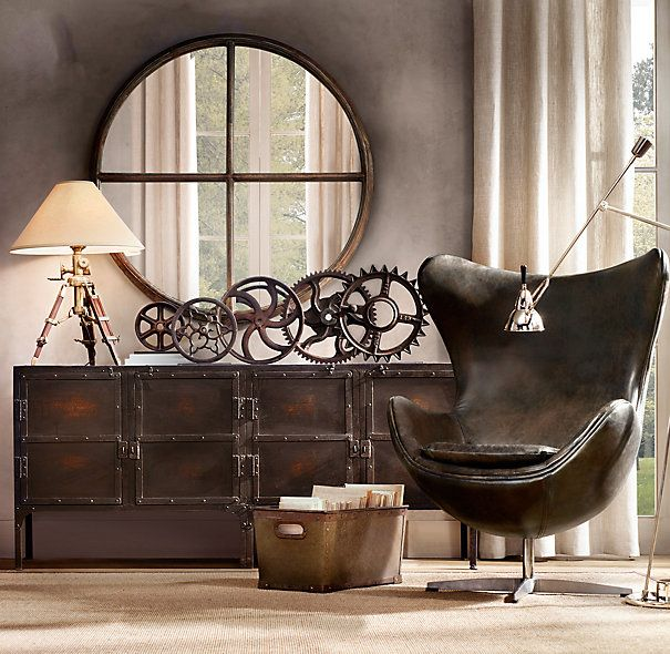 wheels and gears and industrial for a gentleman's room.