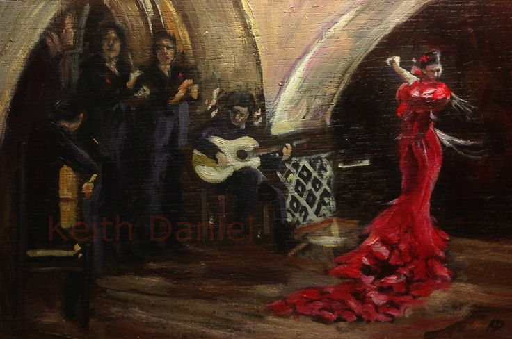 Musicians and Flamenco dancer I- 10 x 15  inch oil Keith Daniel- sold- I am working on painting this piece larger- 18 x 24 cm (7.5 x 10 inches)- KD