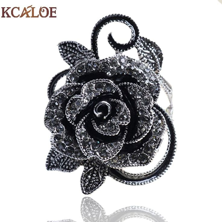 KCALOE Black Flower Crystal Zirconia Vintage Silver Plated Ring //Price: $10.95 & FREE Shipping //     #style