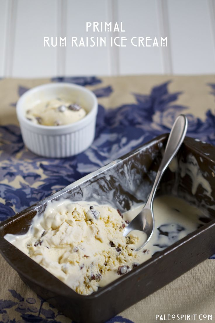 Old-fashioned rum raisin ice cream sweetened only with maple syrup and rum-soaked raisins for a primal treat.