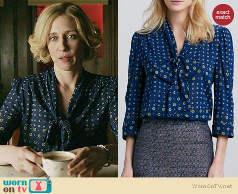 Norma's blue floral bow front blouse on Bates Motel.  Outfit Details: http://wornontv.net/31980/ #BatesMotel