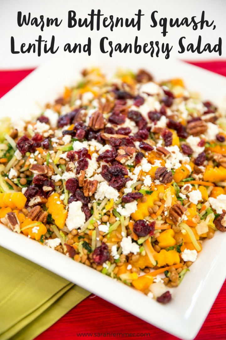 Easy Warm Butternut Squash, Lentil and Cranberry Salad! Perfect healthy side dish or great as a meal on it's own!
