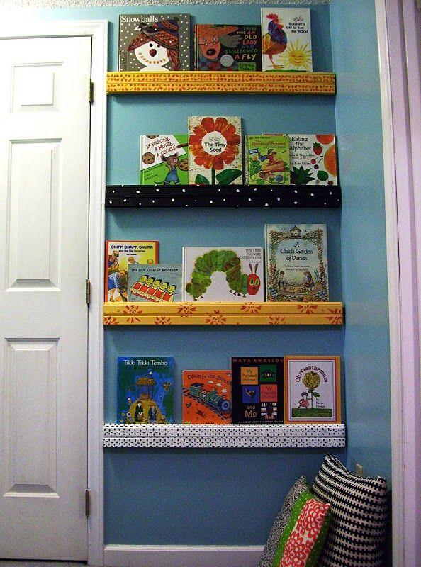 Book shelves covered in fabric: The Doors, Bookshelves, Book Display, Sara Art, Book Nooks, Kids Room, Book Wall, Book Shelves, Kids Book
