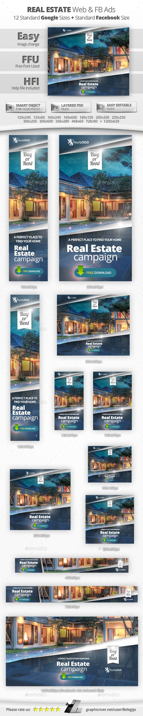 Real Estate Web & Facebook Banners — Photoshop PSD #web #marketing • Available here → https://graphicriver.net/item/real-estate-web-facebook-banners/13946481?ref=pxcr