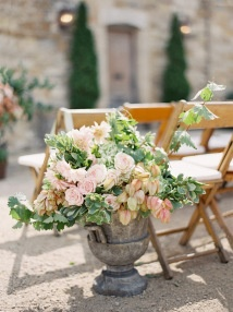 Flowers In Urn Ceremony Decor - aisle marker - pale pink and green