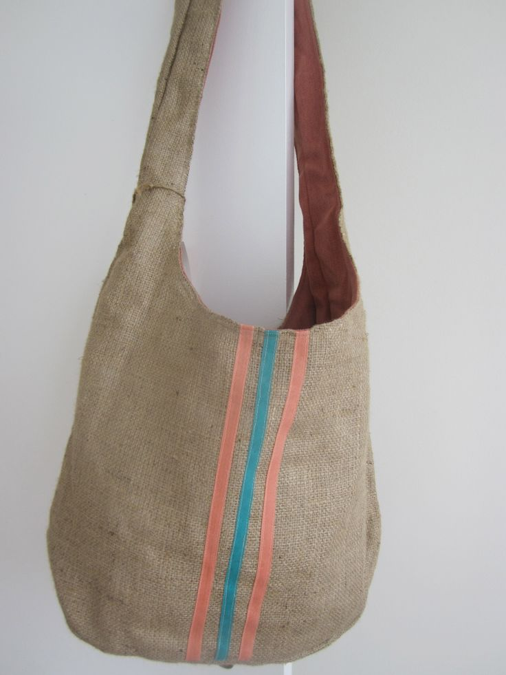 Hessian bag - pink/turquoise stripes