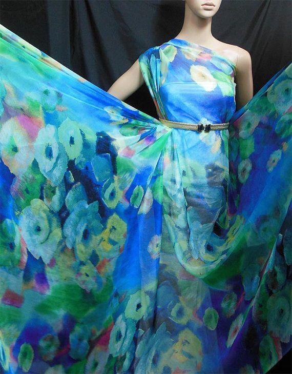 "Discount Gorgeous ""Blue Tone Flower"" Print 6mm Pure Silk Chiffon Fabric dressmaking material sheer (npc-30122 X Yard) on Etsy, $10.97 AUD"