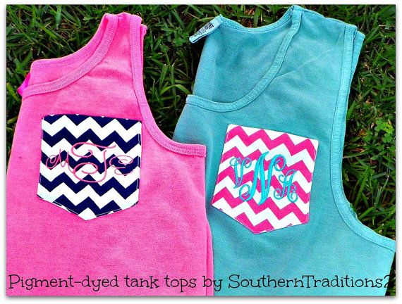 Monogrammed Personalized Chevron Pocket Tee  COMFORT COLORS and Authentic Pigment Tank Tops Choose your color t shirt on Etsy, $25.00