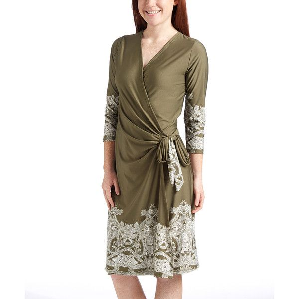 GLAM Olive & Ivory Paisley Wrap Dress ($28) ❤ liked on Polyvore featuring dresses, paisley wrap dress, long length dresses, wrap dress, paisley print dress and army green dress