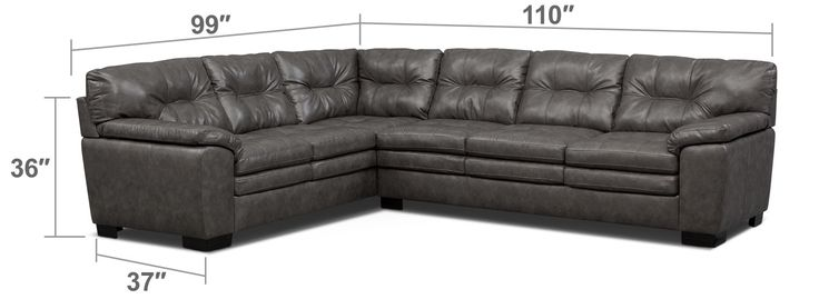 Modern Comfort. Take a seat and enjoy the soft embrace of the Magnum sectional in gray. With leather-like upholstery that gives the luxurious look of genuine leather without the maintenance, this living room essential features traditional design elements that are both inviting and timeless. Featuring button tufting and a gorgeous gray color, this piece also keeps comfort a priority with its padded arms, high back and supreme cushion construction. Sectional includes left-facing sofa and…