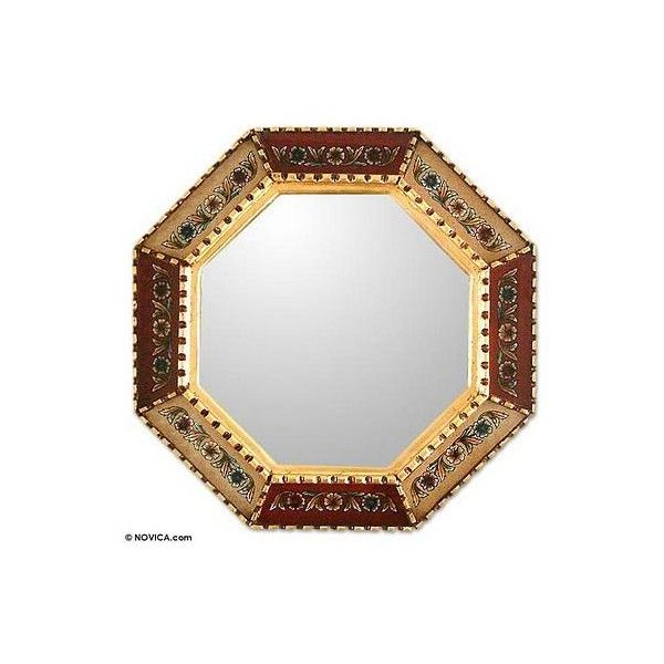 NOVICA Unique Reverse Painted Glass Wood Mirror ($50) ❤ liked on Polyvore featuring home, home decor, mirrors, red, wall decor, wooden mirror, red home decor, red mirror, flower stems and wood home decor