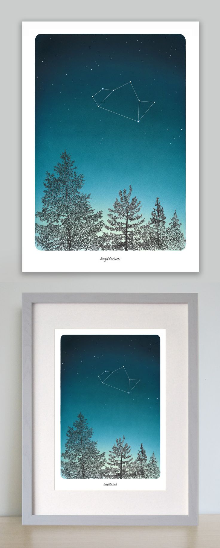 This beautiful zodiac art print depicting Sagittarius star constellation in the night sky is the perfect birthday gift. Printed onto a high quality heavy weight soft textured matt fine art paper. Along with your celestial art print you will receive an additional A4 print explaining all you need to know about the star sign and the constellation. The Sagittarius Star sign is between November 22 – December 21   www.leemorris.org.uk