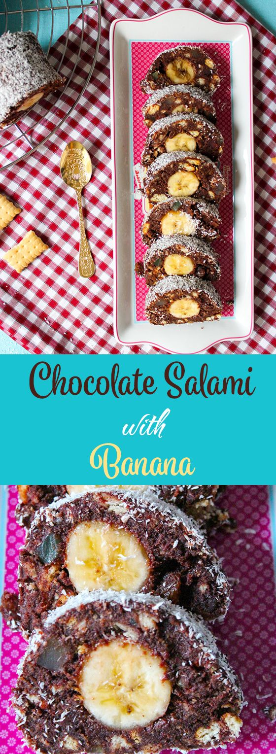 Chocolate salami, made with biscuits, cocoa syrup, raisins and Turkish delight. The banana center makes it extra yummy!