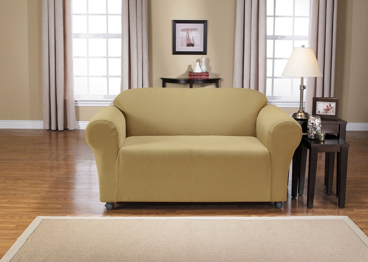 Montgomery II Camel Loveseat Slipcover, Deeply embossed box pattern, soft luscious surface home decor, interior design, chic  form-fit upholstery, yellow