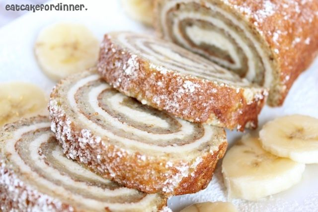 Banana Roll with Cheesecake Filling....Oh my goodness.  It's almost too good to be true.  This cake is spectacular!