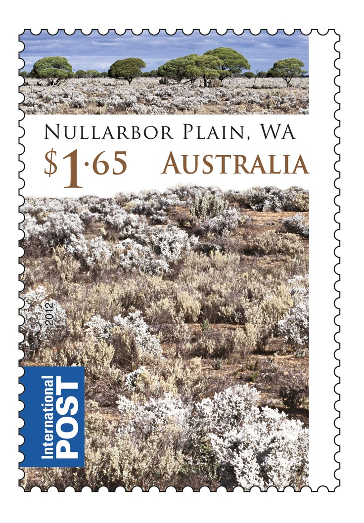 """The vast Nullarbor Plain, located on the Great Australian Bight coast, is the world's largest limestone karst landscape covering an area of 270,000 square kilometres, extending 2,000 kilometres between Norseman and Ceduna. 2/3 of the Nullarbor is within WA and 1/3 is in SA. The name Nullarbor derives from """"no trees"""". Historically, the Nullarbor was inhabited by the semi-nomadic Spinifex Wangai people.  #Australia #Stamps  http://auspo.st/RtBP9c"""