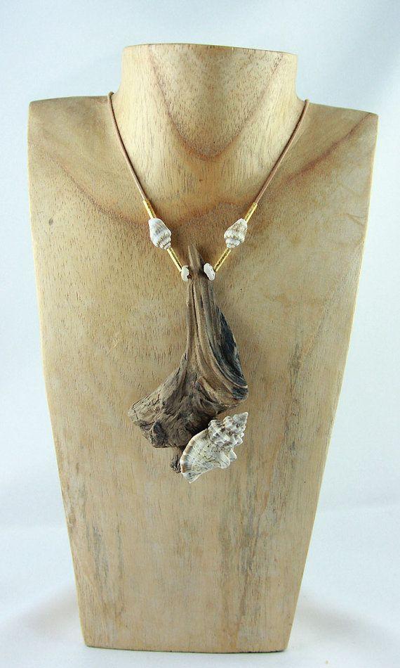 56FEHMARN golden DRIFTWOOD Statement Necklace wooden by StoneSoftArt