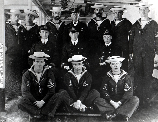 Today's pic of the crew of the HMCS Niobe, complete with sennit hats, was published in The New York Times in May 1956. The HMCS Niobe served in the Boer War before it was given to Canada as one of the first ships of the Royal Canadian Navy in 1910. After patrol duties at the beginning of the First World War, she became a depot ship in Halifax and sustained damage in the 1917 explosion before being scrapped in 1922.