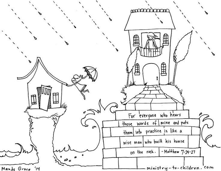 Wise Man Built His House Upon the Rock (Matthew 7:24) Coloring Page