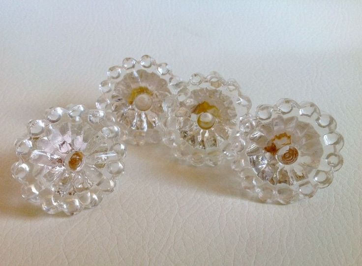4 Clear Beaded Edge Glass Drawer Pulls Cabinet Knobs Vintage Style (s)