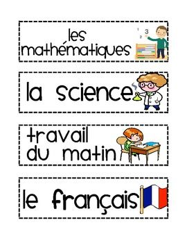 FRENCH Timetable Schedule Agenda labels subjects visual aid