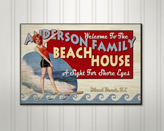 Personalized Beach House Sign, Custom Family Name Sign, Lake Home Sign. For @ JessicaNavon