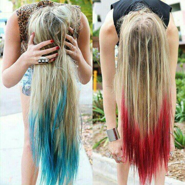 Beautiful Blonde Hair Ideas 1: Dip-dyed Blonde Hair Color With Long Red, Green Highlights