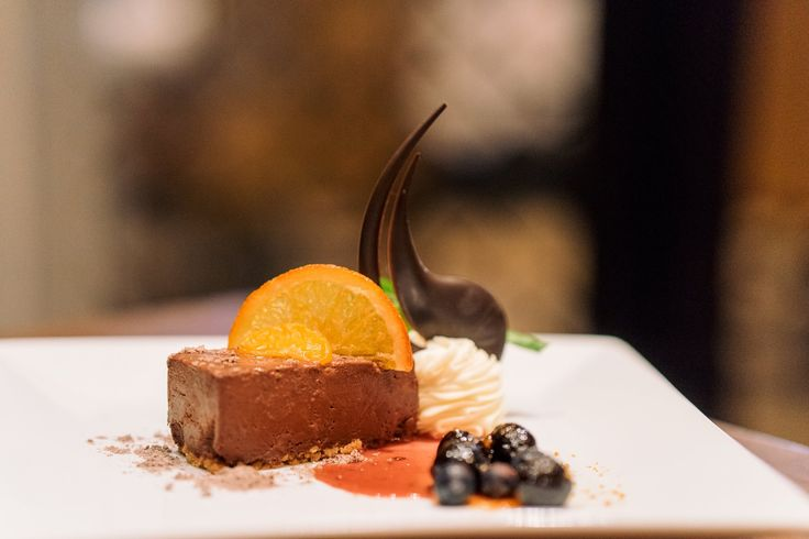 The Grand Cru Bolivia Chocolate Mousse with candied satsuma is a stunning finale to your meal.