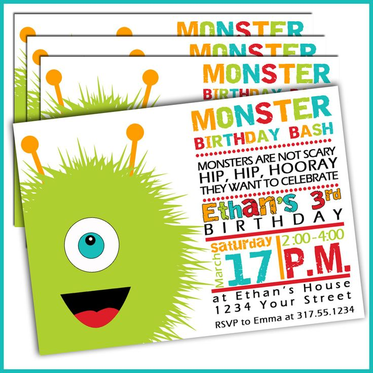 29 best images about Monster BashChases 2nd bday – Monster Party Invites